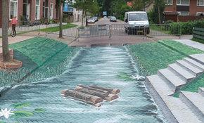Wereldberoemde straattekenaars visualiseren watergang Wijk bij Duurstede in 3D